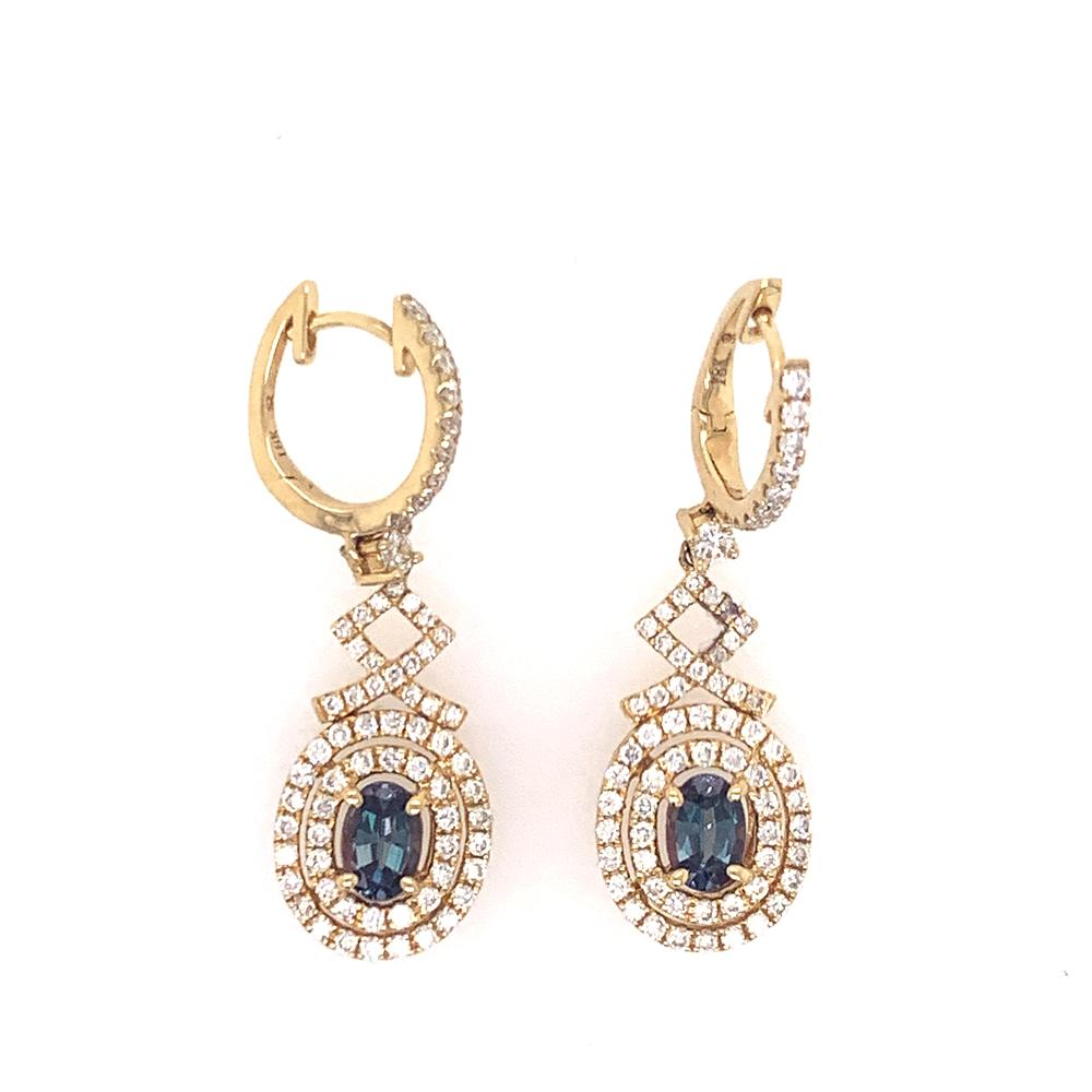 18k yellow gold earrings with 2 IGI certified alexandrites