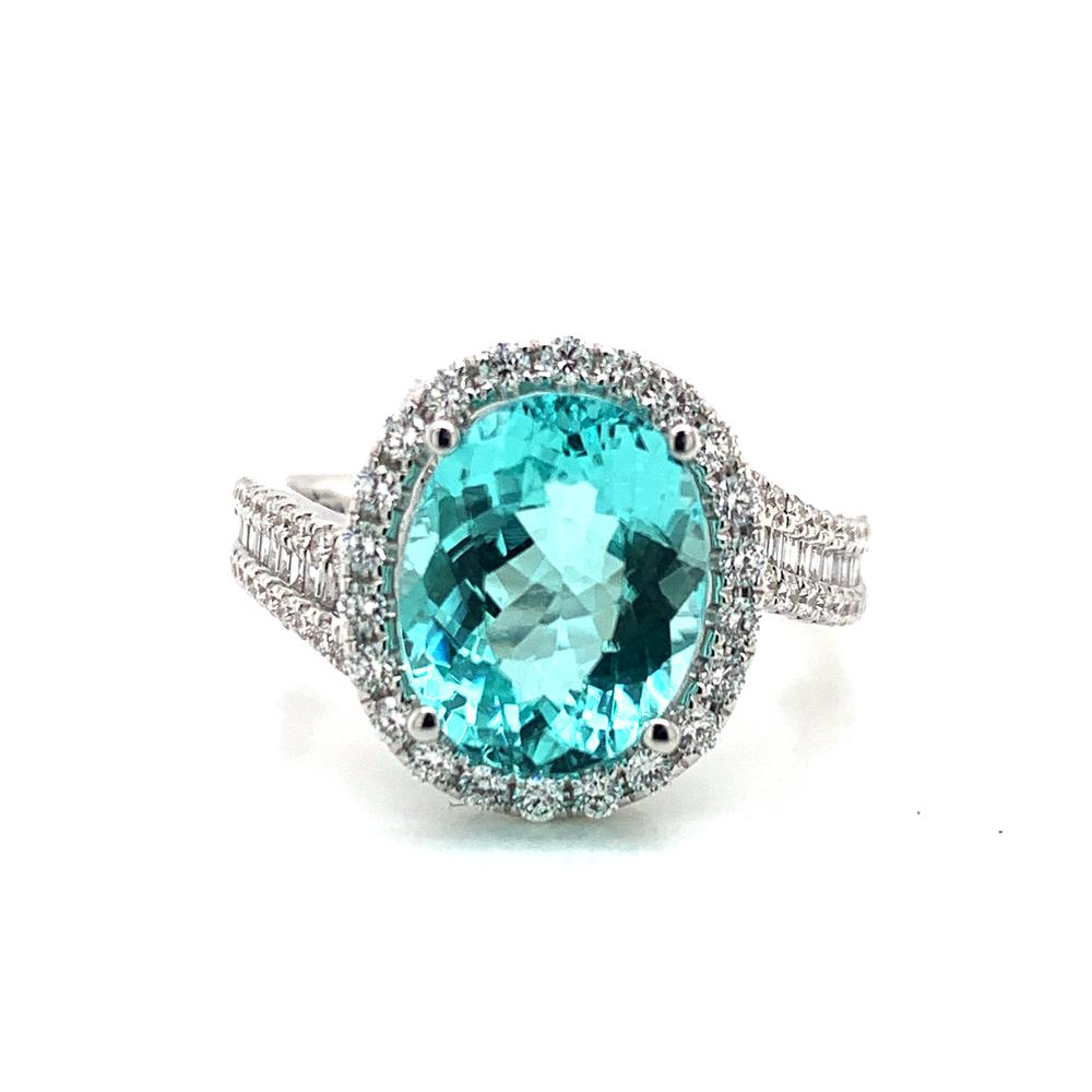 18kt White Gold gold ring with a GIA certified Paraiba tourmaline