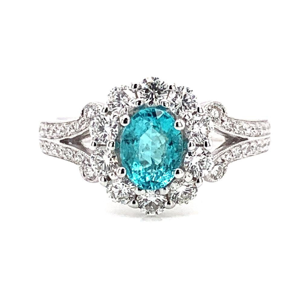 18kt White Gold gold ring with a GIA certified Brazilian Paraiba tourmaline