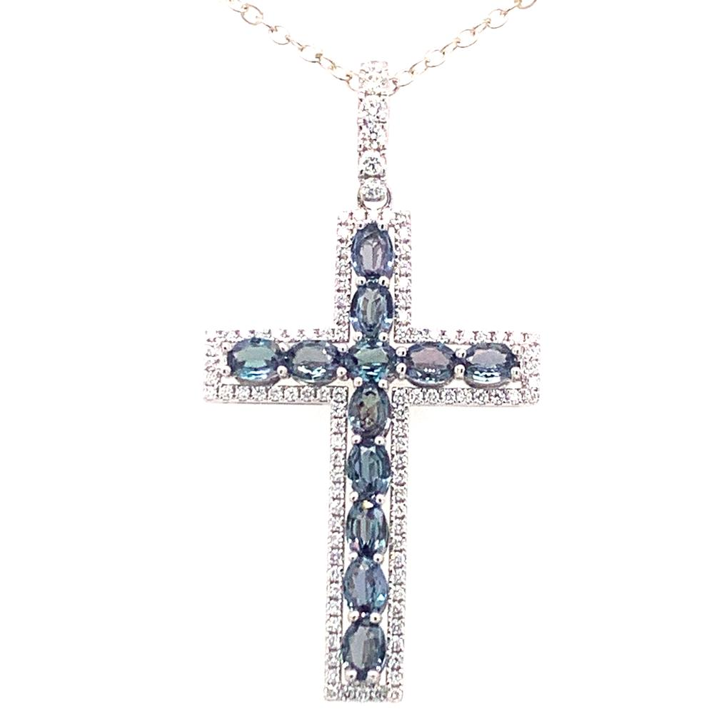 18kt White Gold gold pendant with IGI certified alexandrites