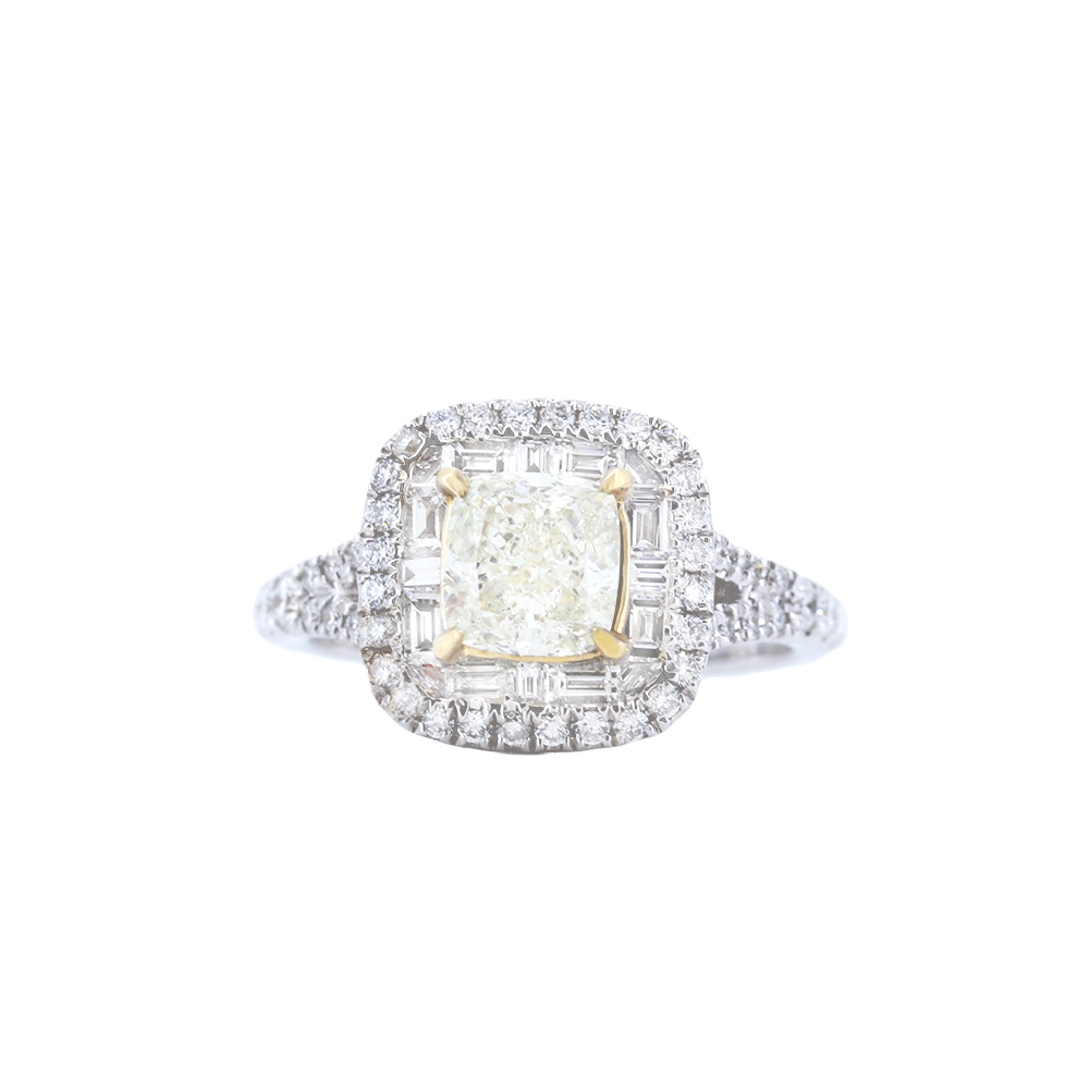 Channel Set Baguette-Style Engagement Ring with Yellow Diamond Center