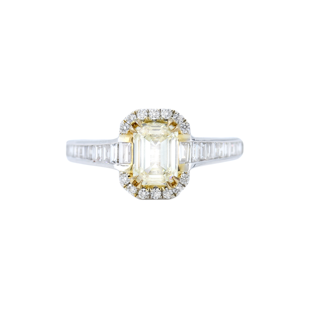 Channel Set Baguette style Engagement Ring with center Yellow Diamond
