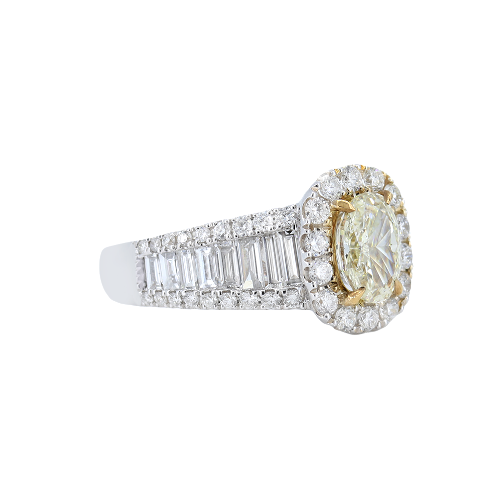 Channel Set Baguette-Style Engagement Ring With Yellow Diamond