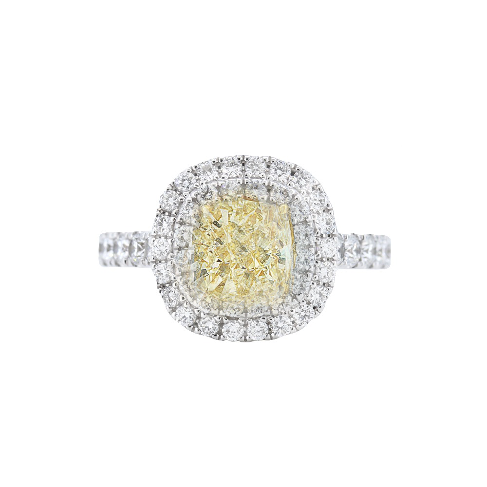 1.54 Fancy Yellow Diamond Halo Engagement Ring in 18k Gold - GAI Certified