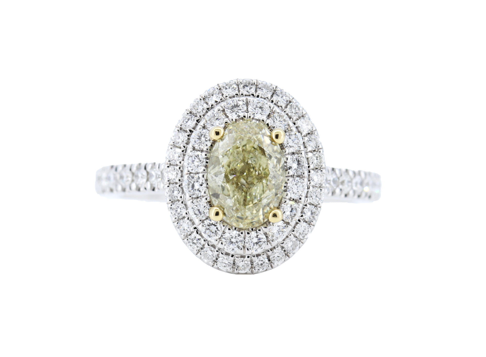 Oval Yellow Diamond Halo Engagement Ring in 18k Gold - GAI Certified