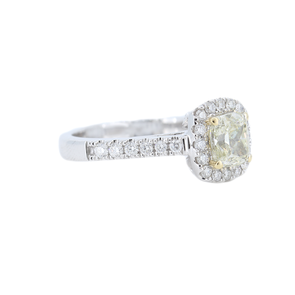 1.02CtW Yellow Diamond Halo Engagement Ring in 18k Gold - GAI Certified