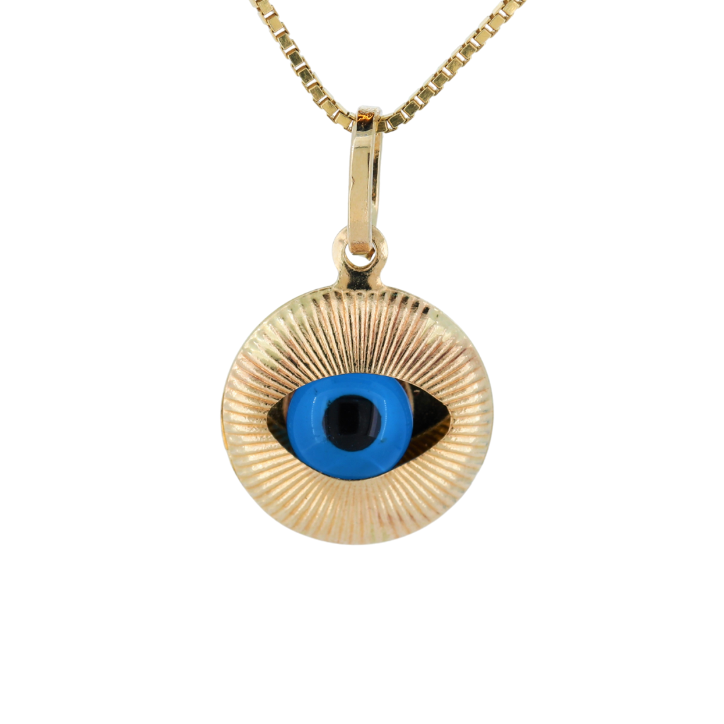 14K Yellow Gold Evil Eye Pendant