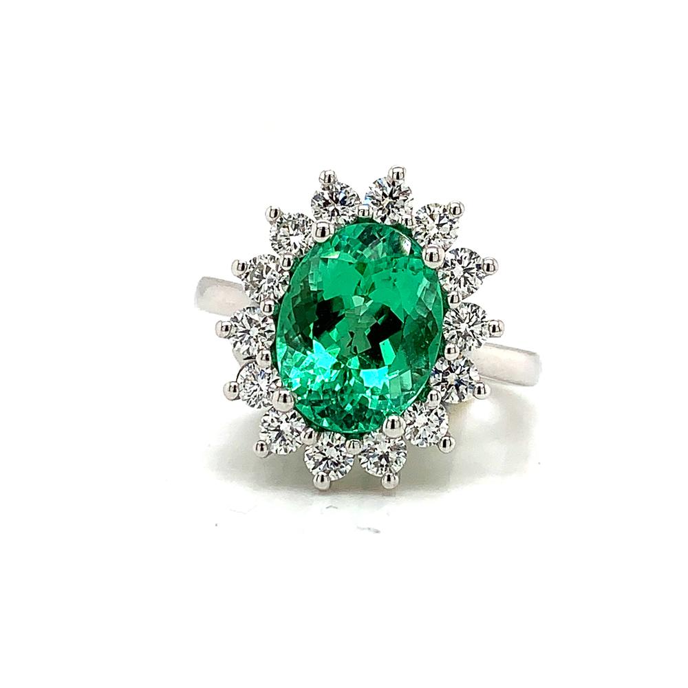 18kt White Gold gold with with and AGL and CDC certified paraiba tourmaline