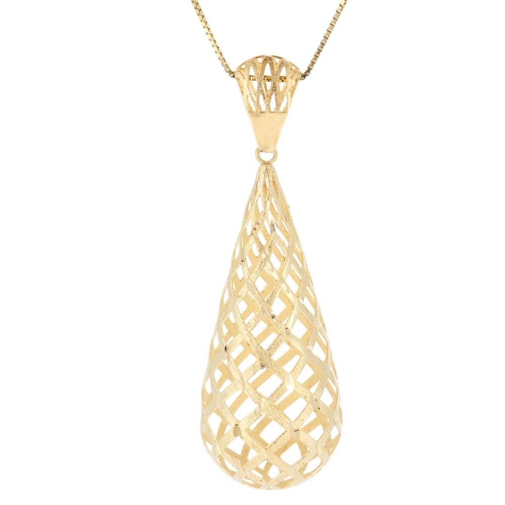 14K Fancy Gold Pendant With Diamond Cut And Matt Finish In Yellow Gold