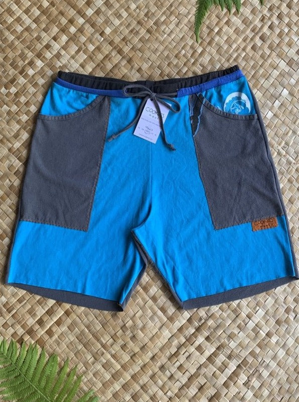 "Mens Size M ""Teal and Grey Surfer"" Kanikapila Shorts"