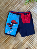 "Load image into Gallery viewer, Mens Size L ""Black & Blue Spider Boy"" Kanikapila Shorts"