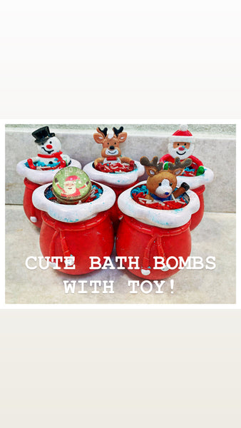 Kid's Bath Bombs In Santa Bag Container