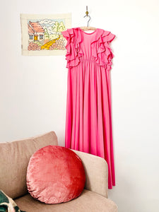 Vintage 1960s bubblegum pink ruffled full length lingerie dress