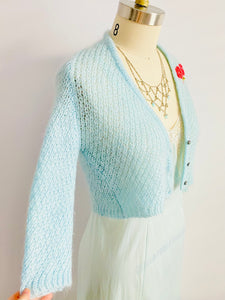 Pastel Blue Cropped Sweater w Embroidered Flowers Vintage Cardigan
