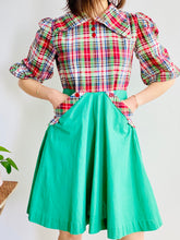 Load image into Gallery viewer, 1930s Green Plaid Dress w Red Buttons and Pockets