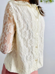Vintage 1970s tulle lace blouse with ruffled collar and sleeves