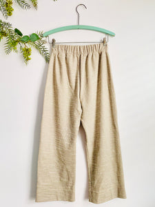 Vintage Oatmeal Color Wide Leg High Waisted Pants