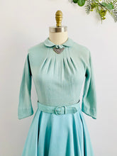 Load image into Gallery viewer, 1960s Turquoise Seafoam Blue Light Wool Dress w Matching Belt Peter Pan Collar