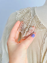 Load image into Gallery viewer, collar of a vintage 1920s lace top