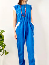 Load image into Gallery viewer, Vintage 1970s navy blue overalls cotton chore jumpsuit