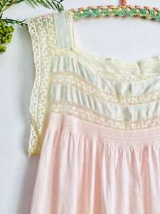 Vintage 1920s pastel pink lingerie dress with lace and damask ribbon