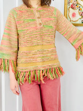 Load image into Gallery viewer, Vintage 1970s Pastel Acrylic Sweater w Fringe Candy Colors