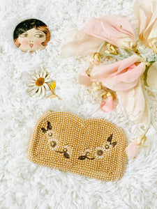 Vintage 1940s Pearls Beaded Purse With Daisies