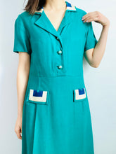 Load image into Gallery viewer, Vintage 1960s emerald green embroidered linen dress