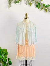 Load image into Gallery viewer, Details of a 1930s Blue Bed Jacket and peach underskirt with Lace