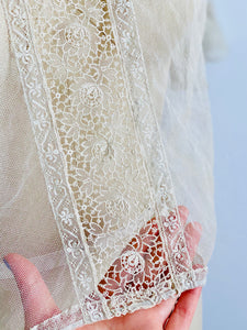 close up of a vintage 1920s chemical lace top