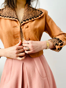 Vintage 1930s apricot color jacket with black soutache