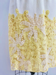 1960s Butter Yellow Battenburg Lace Dress Made in Belgium