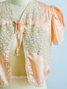 1940s Pink Lace Bed Jacket w Ribbon Ties
