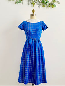 Vintage 1940s navy blue plaid dress with oversized ribbon bow
