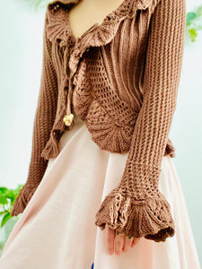 Vintage Caramel Color Crochet Cardigan with Scalloped Flounce