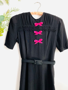 Vintage 1940s rayon crepe dress with velvet ribbon bows