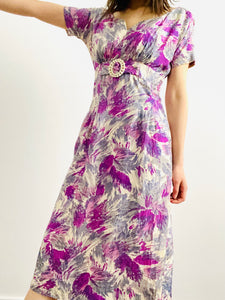 Vintage 1950s purple abstract floral dress with celluloid buckle