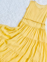 Load image into Gallery viewer, 1920s Yellow Silk Flapper Dress w Art Deco Buckle Beaded Flowers