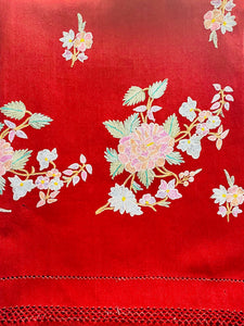 Vintage 1940s ruby red wool scarf w pastel embroidered flowers