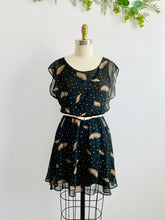 Load image into Gallery viewer, Black Polka Dots Novelty Feather Print Dress