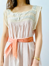 Load image into Gallery viewer, Vintage 1920s pastel pink lingerie dress with lace and damask ribbon