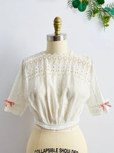 Load image into Gallery viewer, Antique Edwardian Eyelet Lace Top w Ribbon Bow 1910s Cotton Top