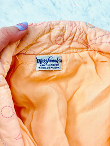 Vintage 1930s Peach Color Embroidered Rayon Crepe Bed Jacket