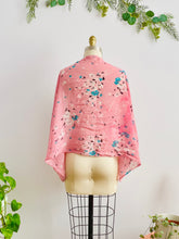 Load image into Gallery viewer, back of a vintage 1930s pink floral silk scarf display on mannequin
