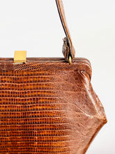 Load image into Gallery viewer, Vintage 1940s Espresso Brown Lizard Leather Bag Rare Geometric Shape