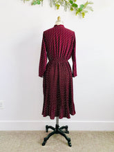 Load image into Gallery viewer, Vintage burgundy color novelty print rayon dress w ribbon ties