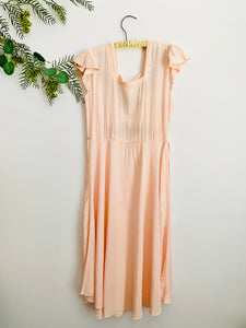 1930s Peach Rayon Lingerie dress w Sweet Embroidery Cap Sleeves