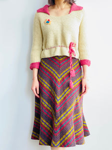 1930s Raspberry Beige Color Sweater w Waist Ties