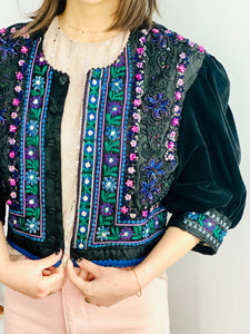 Vintage Colorful Beaded Embroidered Jacket with Velvet Balloon Sleeves