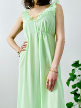 Load image into Gallery viewer, Vintage 1960s pastel green lingerie slip dress with ribbon